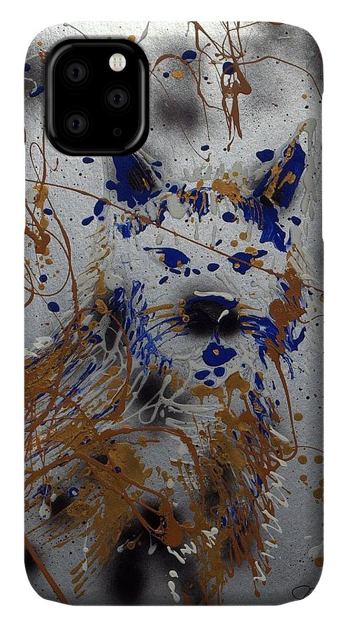 Impressionist Painting IPhone Case featuring the mixed media The Lone Wolf Canis Lupus by J R Seymour