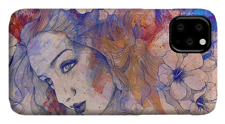Pencil IPhone 11 Case featuring the painting The Lowest Common Denominator - Peach by Marco Paludet