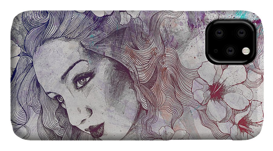 Pencil IPhone 11 Case featuring the drawing The Lowest Common Denominator - Rainbow by Marco Paludet