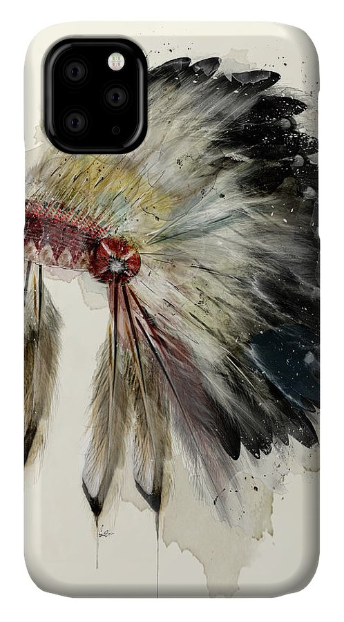 Native Headdress IPhone Case featuring the painting The Native Headdress by Bri Buckley