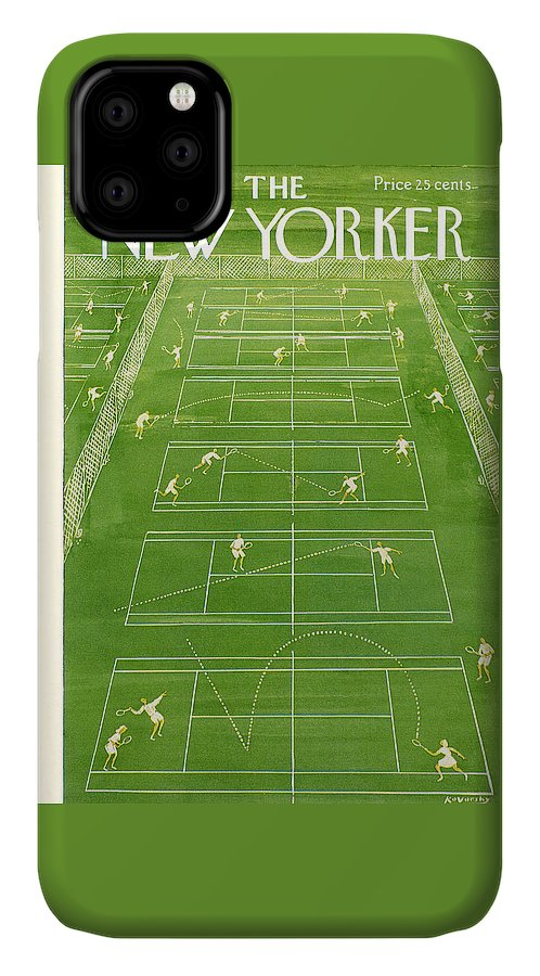 Tennis IPhone Case featuring the painting New Yorker Cover - June 25th, 1960 by Anatol Kovarsky