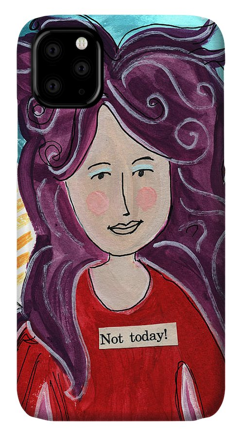 Fairy IPhone Case featuring the mixed media The Not Today Fairy- Art By Linda Woods by Linda Woods
