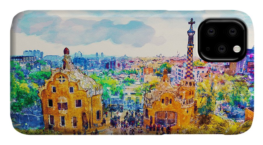 Park Guell IPhone 11 Case featuring the painting Park Guell Barcelona by Marian Voicu