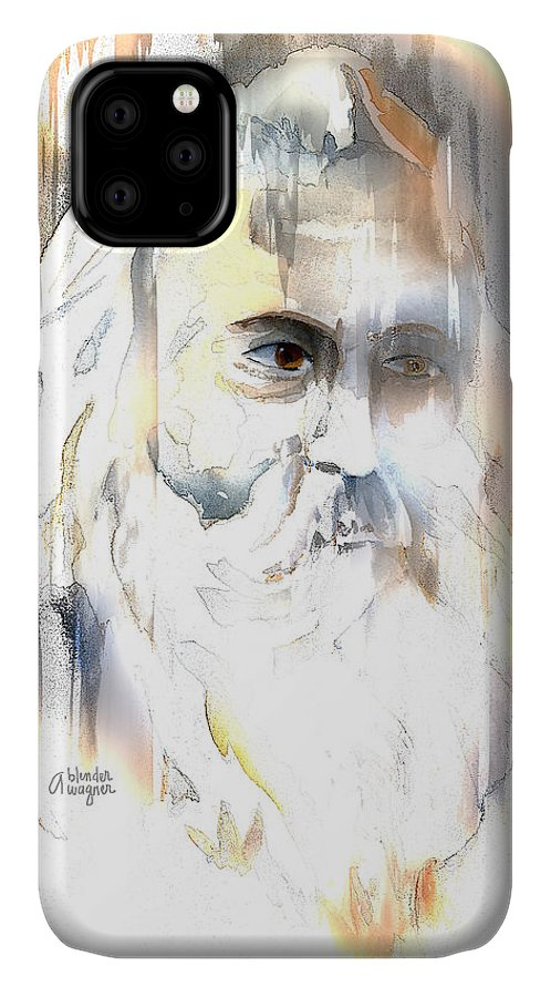 Old Man IPhone Case featuring the mixed media The Prophet by Arline Wagner