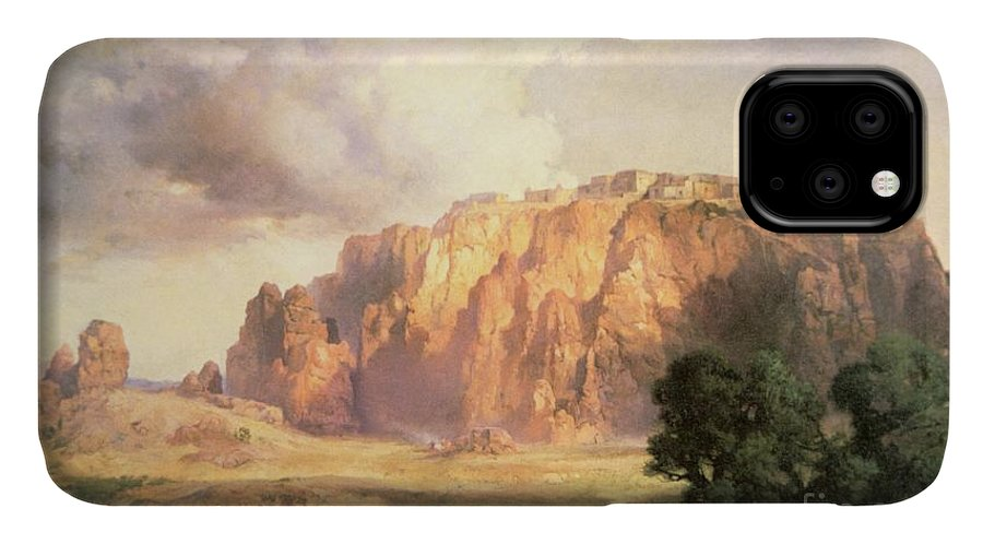The Pueblo Of Acoma IPhone 11 Case featuring the painting The Pueblo Of Acoma In New Mexico by Thomas Moran