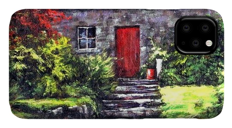 Ireland IPhone Case featuring the painting The Red Door by Jim Gola