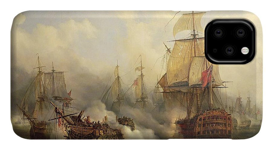 The IPhone Case featuring the painting Unknown Title Sea Battle by Auguste Etienne Francois Mayer