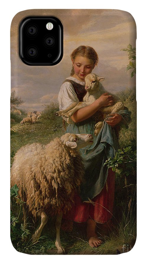 Shepherdess IPhone Case featuring the painting The Shepherdess by Johann Baptist Hofner