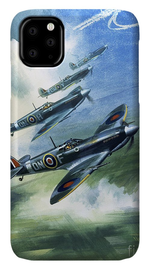 The IPhone 11 Case featuring the painting The Supermarine Spitfire Mark Ix by Wilfred Hardy
