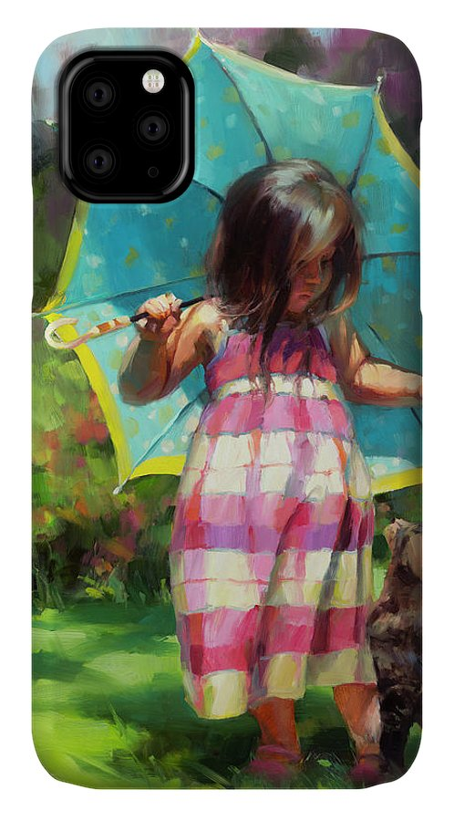 Child IPhone Case featuring the painting The Teal Umbrella by Steve Henderson