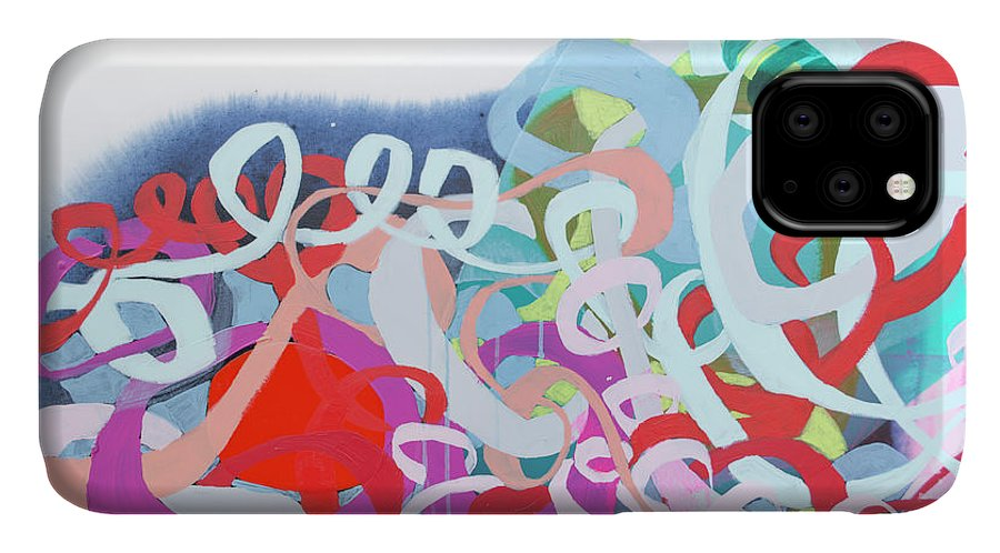 Abstract IPhone 11 Case featuring the painting The Thrill Of It All by Claire Desjardins