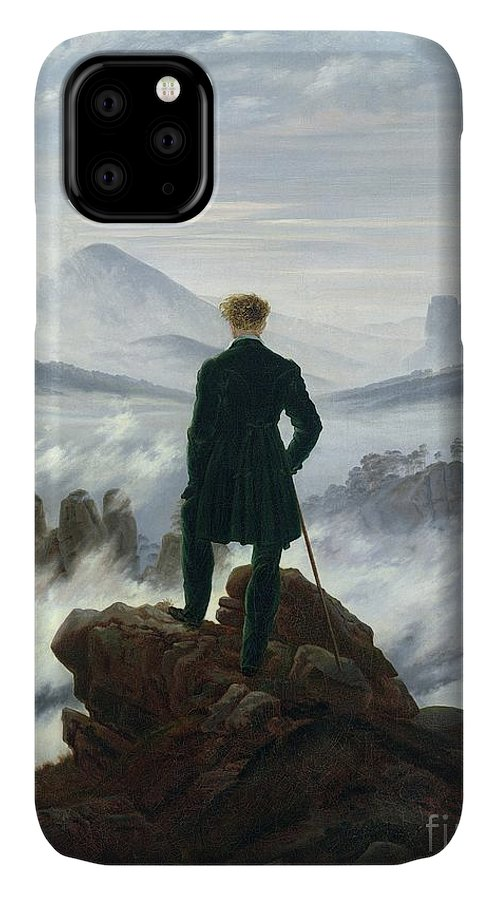 The IPhone Case featuring the painting The Wanderer Above The Sea Of Fog by Caspar David Friedrich