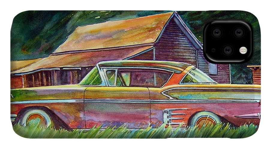 Rusty Car Chev Impala IPhone Case featuring the painting This Impala Doesn by Ron Morrison