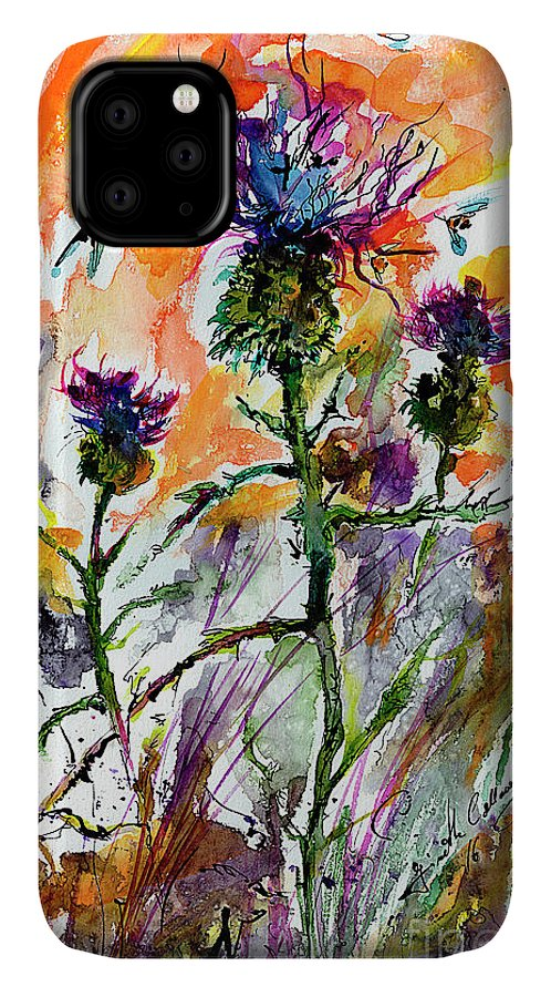 Thistles IPhone 11 Case featuring the painting Thistles And Bees Watercolor And Ink by Ginette Callaway