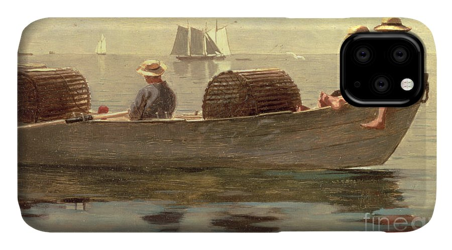 Boat IPhone Case featuring the painting Three Boys In A Dory by Winslow Homer