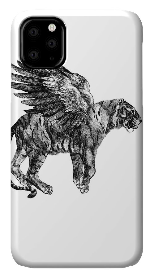 Tiger IPhone Case featuring the digital art Tiger with wings, black and white illustration by Madame Memento