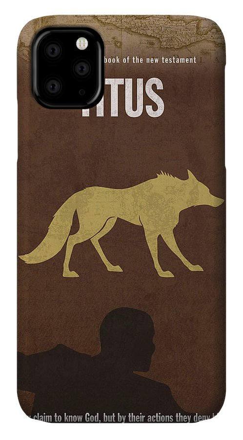 Titus IPhone Case featuring the mixed media Titus Books Of The Bible Series New Testament Minimal Poster Art Number 17 by Design Turnpike