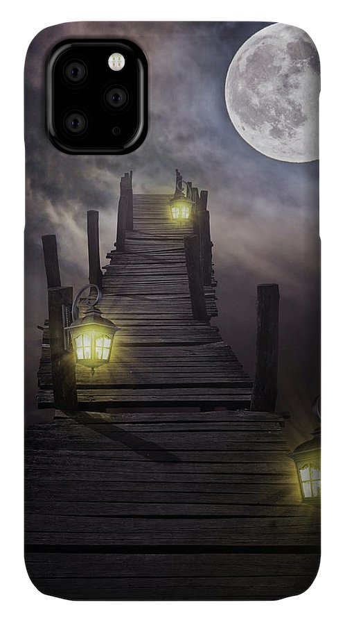 Surreal IPhone Case featuring the digital art To The Moon And Back by Mihaela Pater