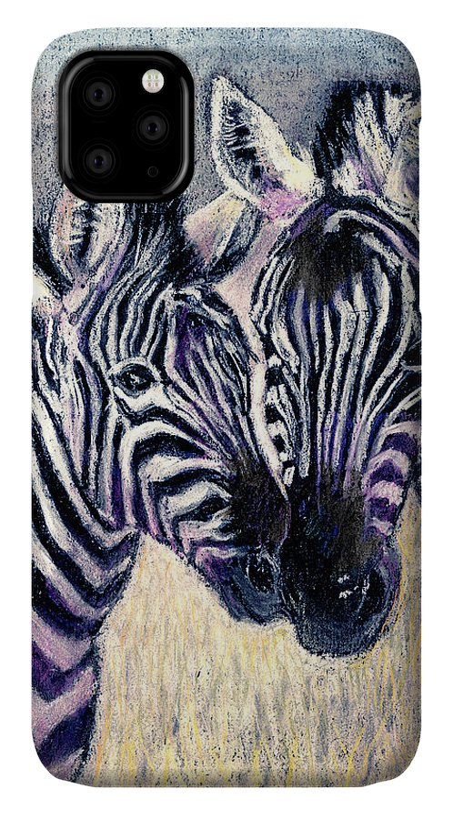 Zebras IPhone Case featuring the pastel Together by Arline Wagner
