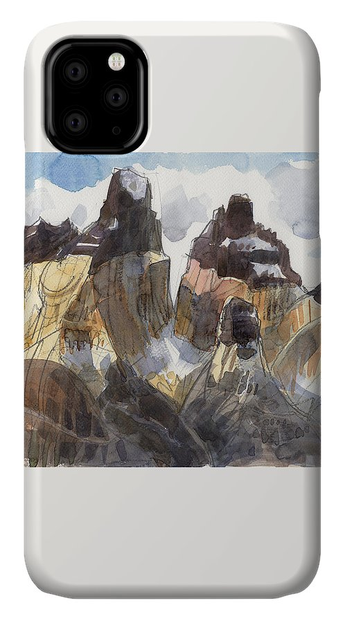 Landscape IPhone Case featuring the painting Torres Del Paine, Chile by Judith Kunzle