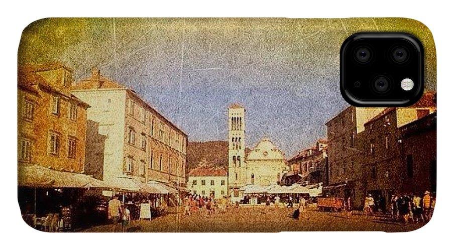 Edit IPhone Case featuring the photograph Town Square #edit - #hvar, #croatia by Alan Khalfin