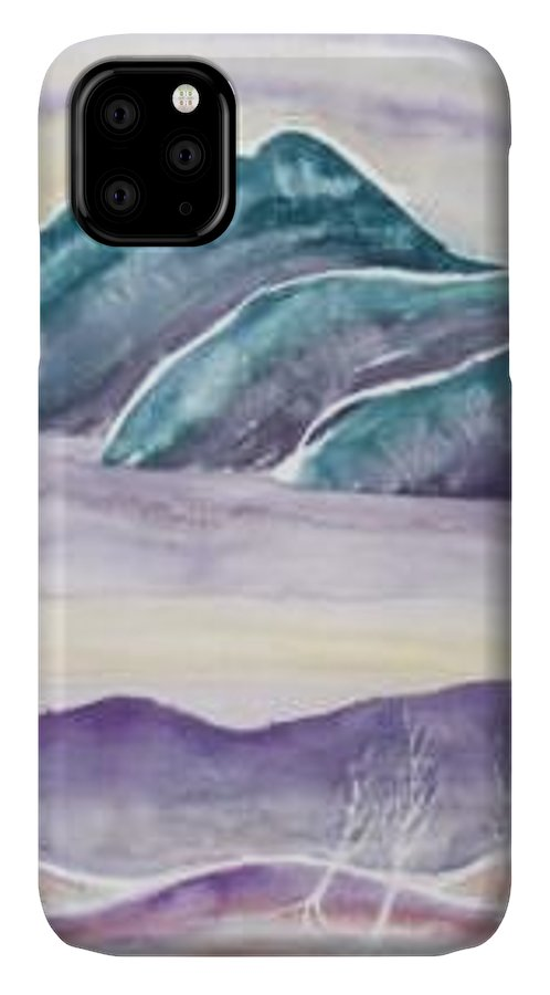 Watercolor IPhone Case featuring the painting TRANQUILITY landscape mountain surreal modern fine art print by Derek Mccrea