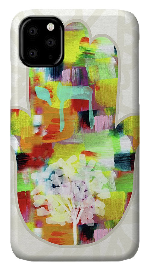 Hamsa IPhone Case featuring the painting Tree Of Life Hamsa- Art By Linda Woods by Linda Woods