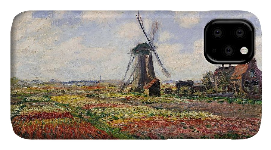 Claude Monet IPhone 11 Case featuring the painting Tulip Fields With The Rijnsburg Windmill by Claude Monet
