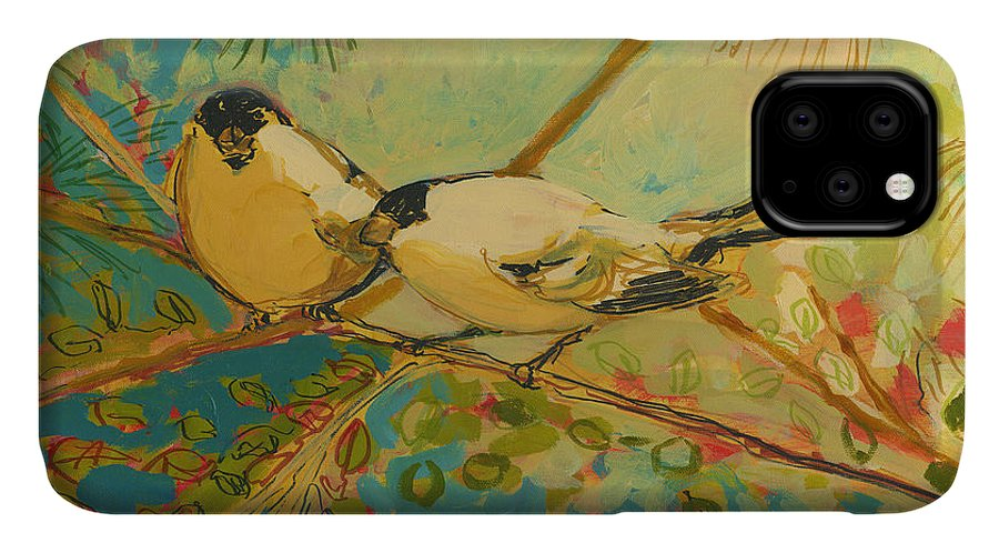 Bird IPhone Case featuring the painting Two Goldfinch Found by Jennifer Lommers