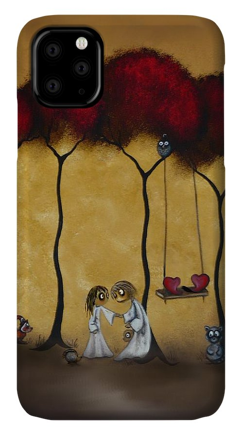Whimsical Art IPhone Case featuring the painting Two Hearts by Charlene Zatloukal