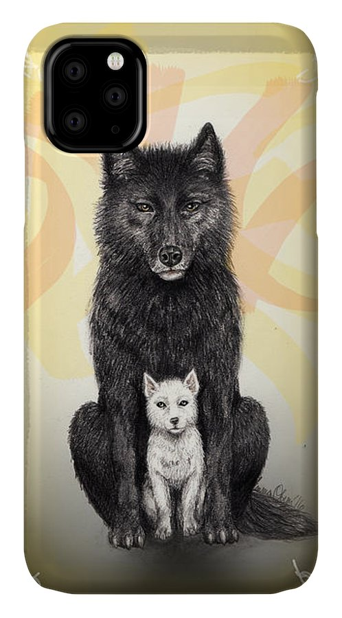 Wolves IPhone Case featuring the mixed media Two Wolves by Emma Olsen