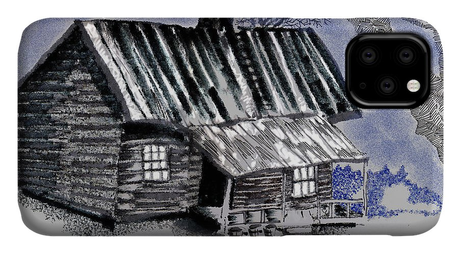 Cabin IPhone Case featuring the drawing Under a Tin Roof by Seth Weaver