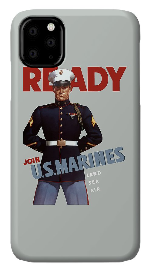 Marine Recruiting IPhone Case featuring the painting Us Marines - Ready by War Is Hell Store