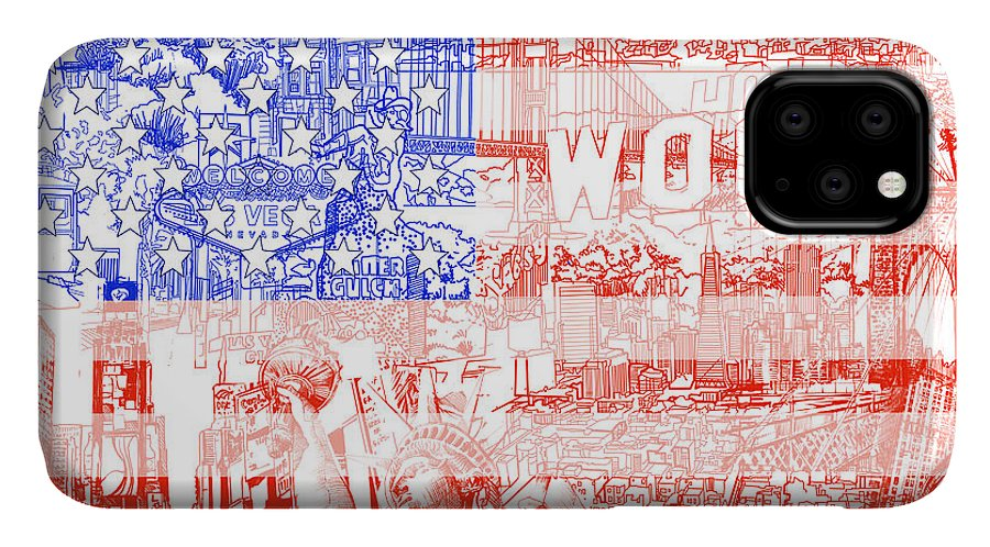 Usa Flag IPhone Case featuring the painting Usa Flag 1 by Bekim M