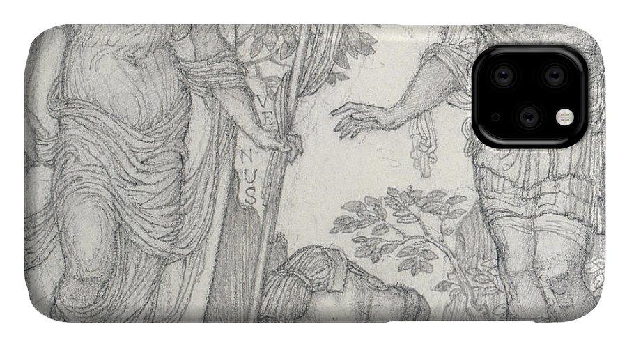 Venus IPhone Case featuring the drawing Venus Bringing Armor To Aeneas by Sir Edward Coley Burne-Jones