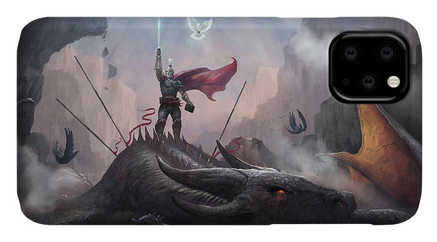 Dragon IPhone 11 Case featuring the digital art Victory by Steve Goad