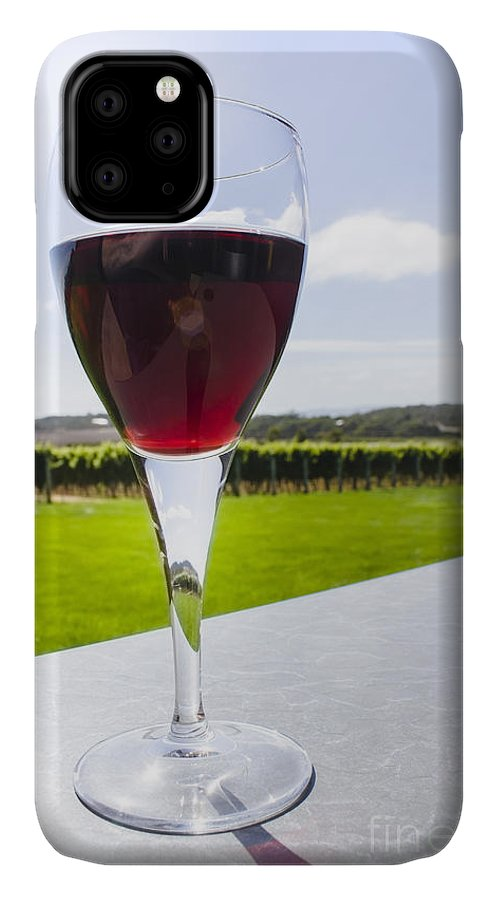 Glass IPhone Case featuring the photograph Vineyard Wine Glass Filled With Red Shiraz by Jorgo Photography - Wall Art Gallery