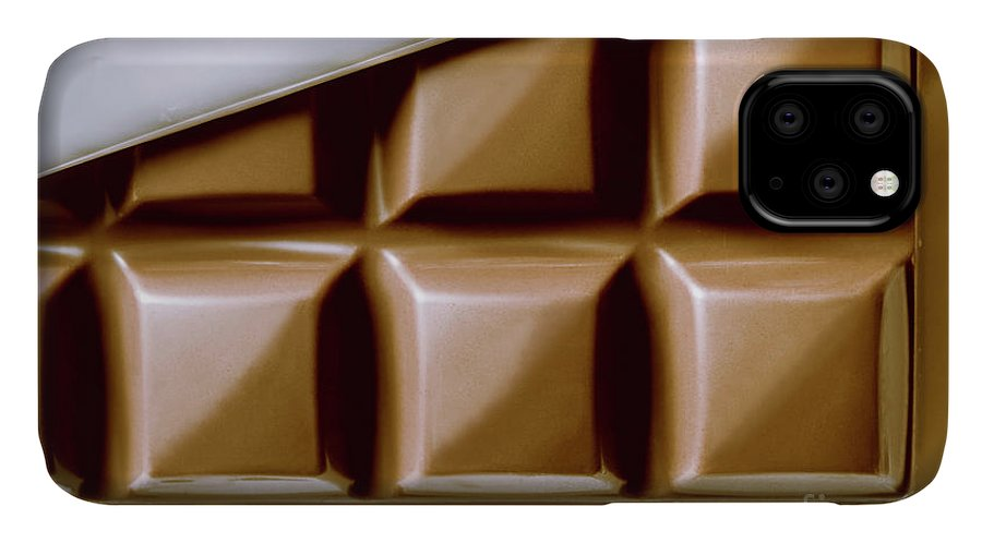 Macro IPhone 11 Case featuring the photograph Vintage Chocolate Block Macro by Jorgo Photography - Wall Art Gallery