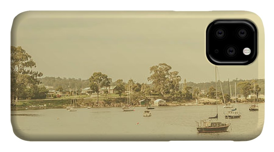 Nautical IPhone Case featuring the photograph Vintage Dover Harbour Tasmania by Jorgo Photography - Wall Art Gallery