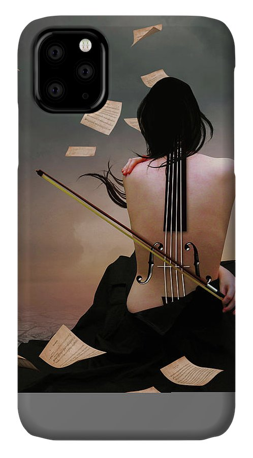 Surreal IPhone Case featuring the digital art Violin Woman by Mihaela Pater