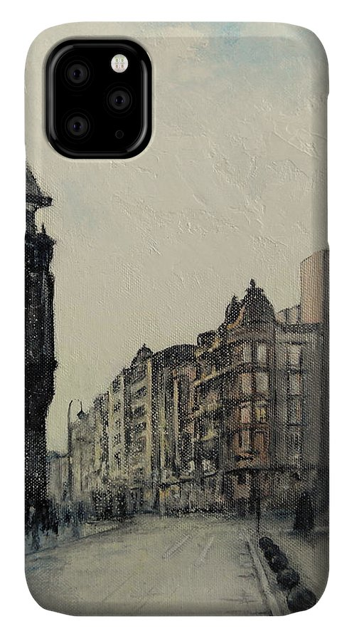 Leon IPhone Case featuring the painting Vista desde calle ancha-Leon by Tomas Castano
