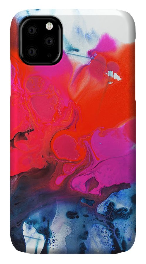 Abstract IPhone 11 Case featuring the painting Voice by Claire Desjardins