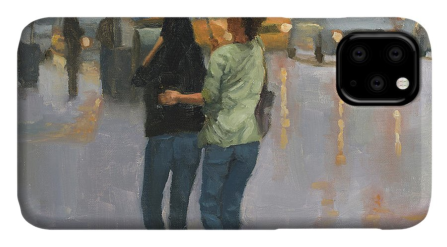 Oil Painting IPhone 11 Case featuring the painting Walking With You by Tate Hamilton