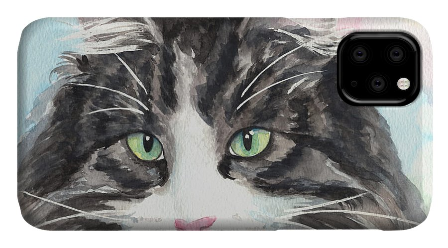 My Mater Cat IPhone Case featuring the painting Watercolor Cat 13 My Master by Kathleen Wong