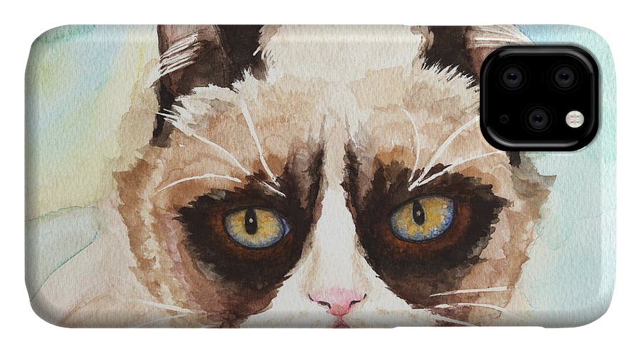 Sorrowful Cat IPhone Case featuring the painting Watercolor Cat 14 Sorrowful Cat by Kathleen Wong