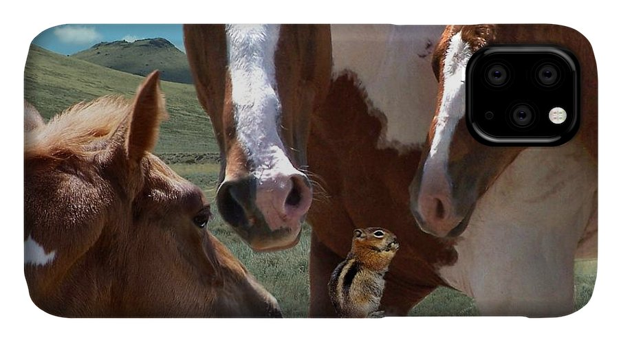 Horses IPhone Case featuring the mixed media Watizit by Bill Stephens