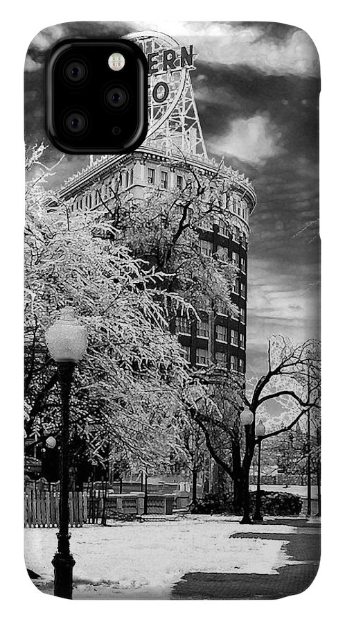 Western Auto Kansas City IPhone Case featuring the photograph Western Auto In Winter by Steve Karol