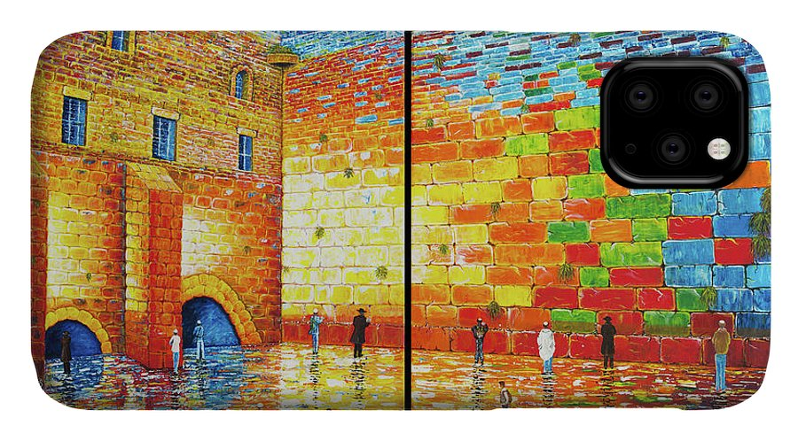 Western Wall IPhone Case featuring the painting Western Wall Jerusalem Wailing Wall Acrylic Painting 2 Panels by Georgeta Blanaru