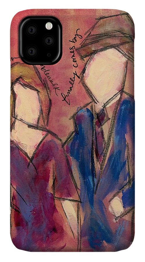 Painting IPhone Case featuring the painting What Do You Do When The Sidewalk Finally Comes By by Hew Wilson