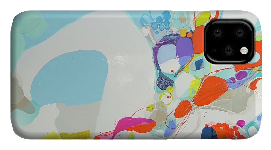 Abstract IPhone 11 Case featuring the painting When Alexa Moved In by Claire Desjardins